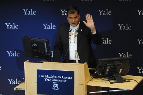 Presidente  Correa en Conferencia en la Universidad de Yale (Abril, 2014).  Foto: Mauricio Muñoz E.