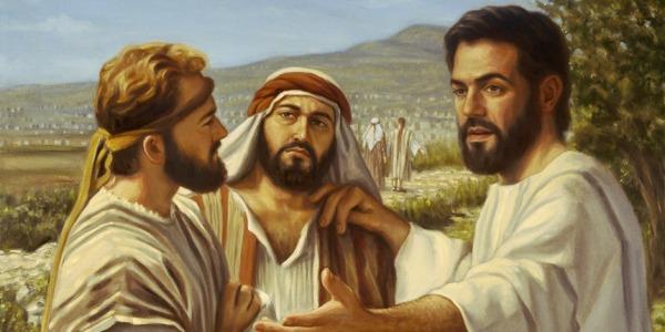 Jesús instruye a sus discípulos.